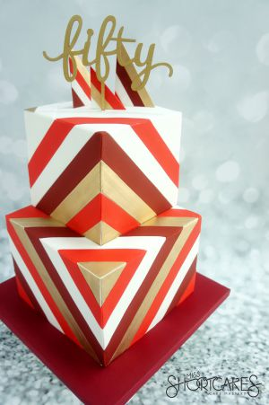 Red and Gold Geometric Stripes