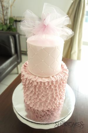 Ballerina cake with buttercream ruffles and fondant