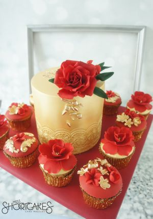 Red and Gold Luxe Cupcakes