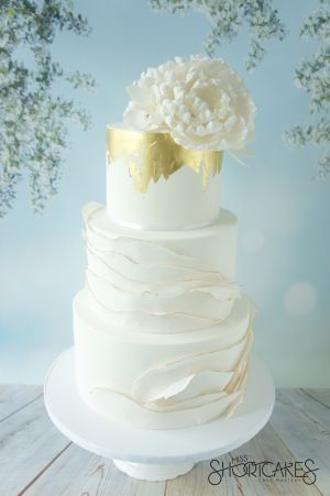 White and Gold Ruffles and Gold Leaf
