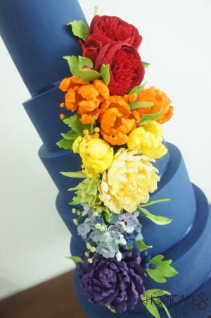 Rainbow Flowers and Navy