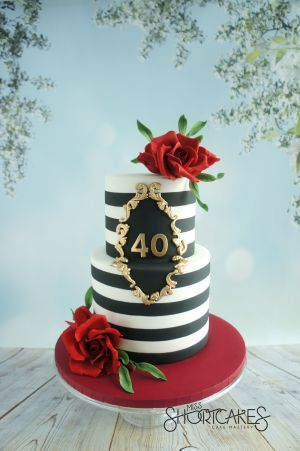 Black and white stripes with red roses