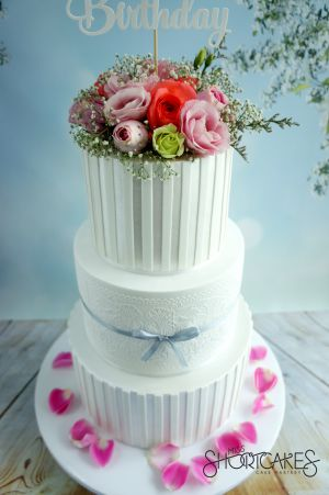 Fresh Flowers on White Stripes and Lace