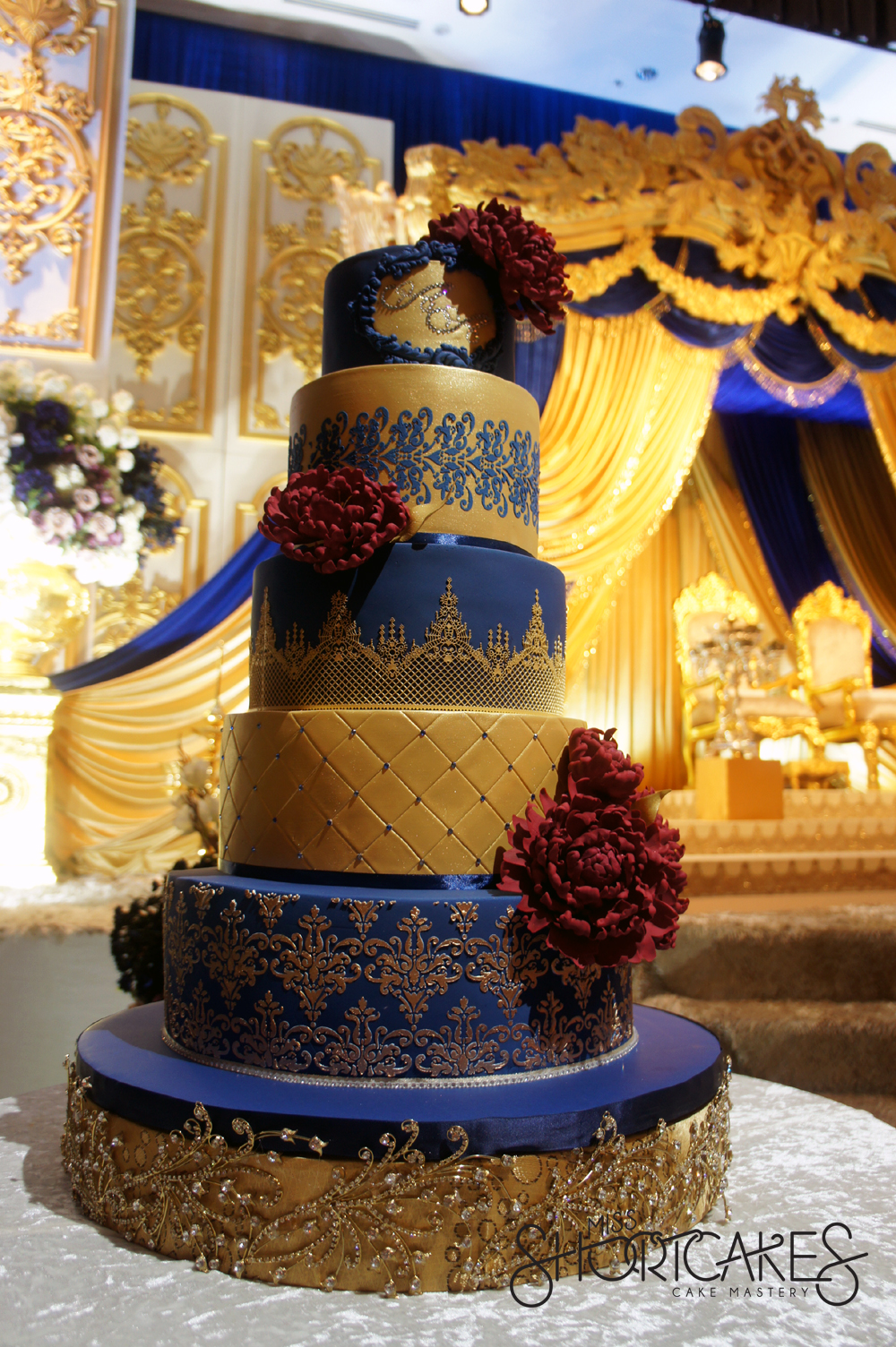 white gold and royal blue wedding cake blue 27292